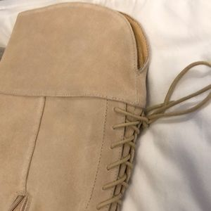 Anthropologie Shoes - NWOT Anthropologie tan suede knee boots w/ laces